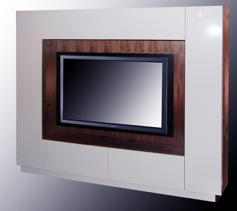 plasma TV wall unit in American black walnut
