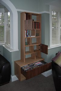 Oak and American black walnut cantilevered wall unit