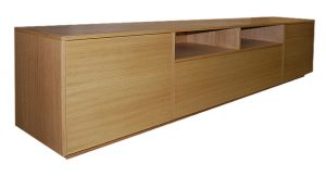 Low line bespoke media unit in oak finish