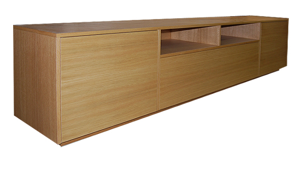 long, low line bespoke media unit in oak finish