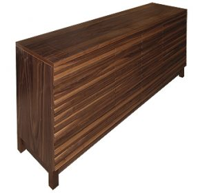 Media cabinet in American black walnut with slatted doors