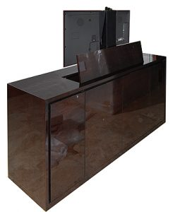 Bespoke high gloss pop up tv cabinet