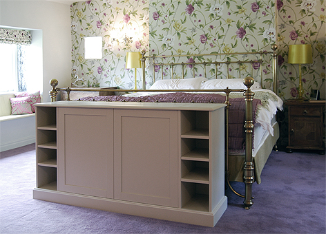 Bespoke pop up TV cabinet for the end of a bed