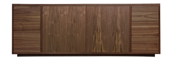 American black walnut television and media cabinet