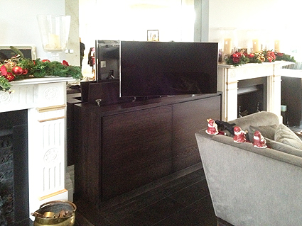 Bespoke pop up TV cabinet for lounge