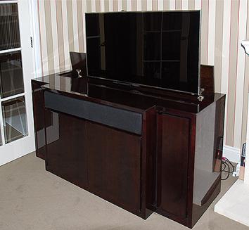 Bespoke break front TV cabinet with swivel for lounge