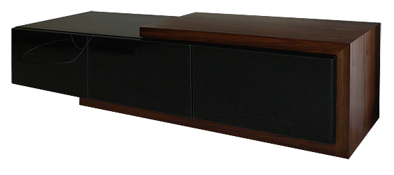 Custom made TV cabinet in American black walnut & black lacquer