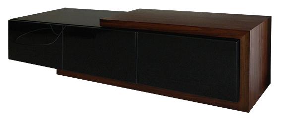 Custom made TV cabinet in American black walnut & black lacquer