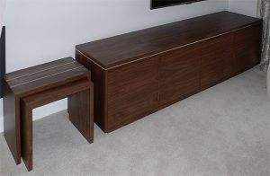 TV cabinet in American black walnut with aluminium insert