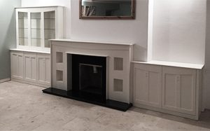 Charles Rennie Mackintosh inspired fire surround and matching cabinets
