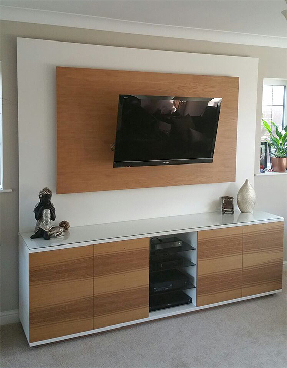 Bespoke media cabinet, in oak and painted finish