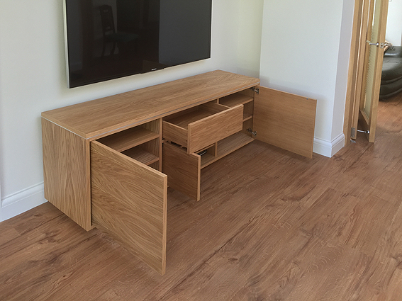 bespoke AV stand in oak
