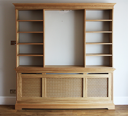 Cambridge radiator bookcase in oak