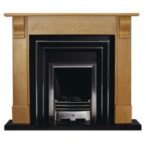 Corbelle fire surround shown in solid oak