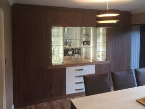 American black walnut and painted finish wall unit