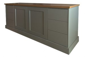 TV cabinet in painted finish with oak top
