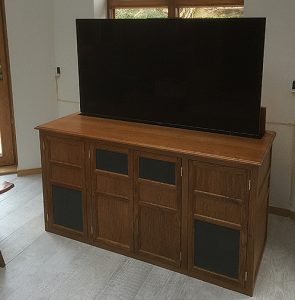 TV lift cabinet in oak