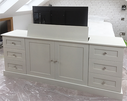 hidden tv cabinet with lift popup end of bed bespoke custom made to measure. Black Bedroom Furniture Sets. Home Design Ideas