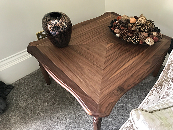 Bespoke side table in walnut