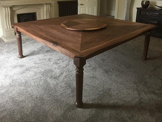 walnut table with lazy susan
