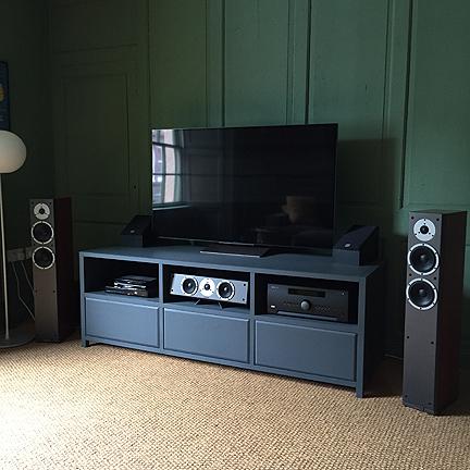 Oak TV and AV cabinet in bespoke painted finish