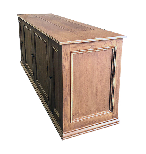 Oak TV lift cabinet