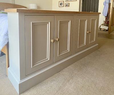 TV lift cabinet with oak top