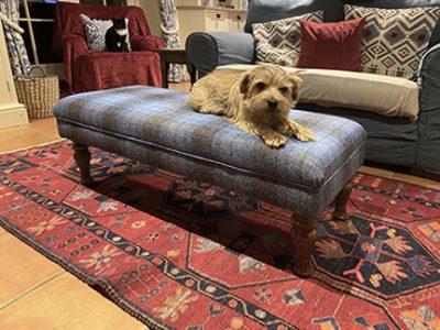 Harris tweed footstool