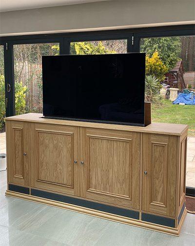 oak rising tv cabinet