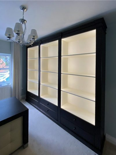 Home office wall unit and desk