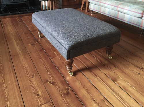 footstool in harris tweed